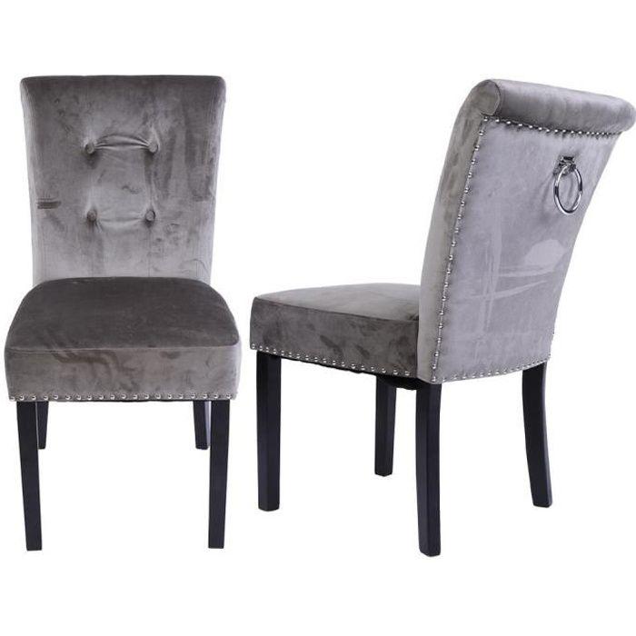 CHAISE Lot de 2 chaises en tissu de velours gris , pied e
