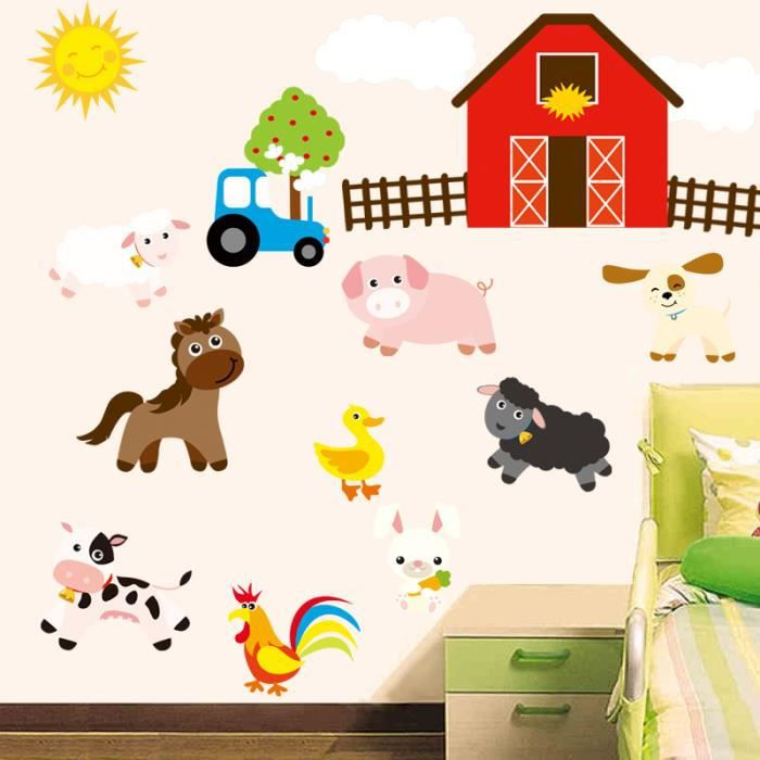sticker d coration murale salon chambre enfants ferme animaux de dessin anim achat vente. Black Bedroom Furniture Sets. Home Design Ideas
