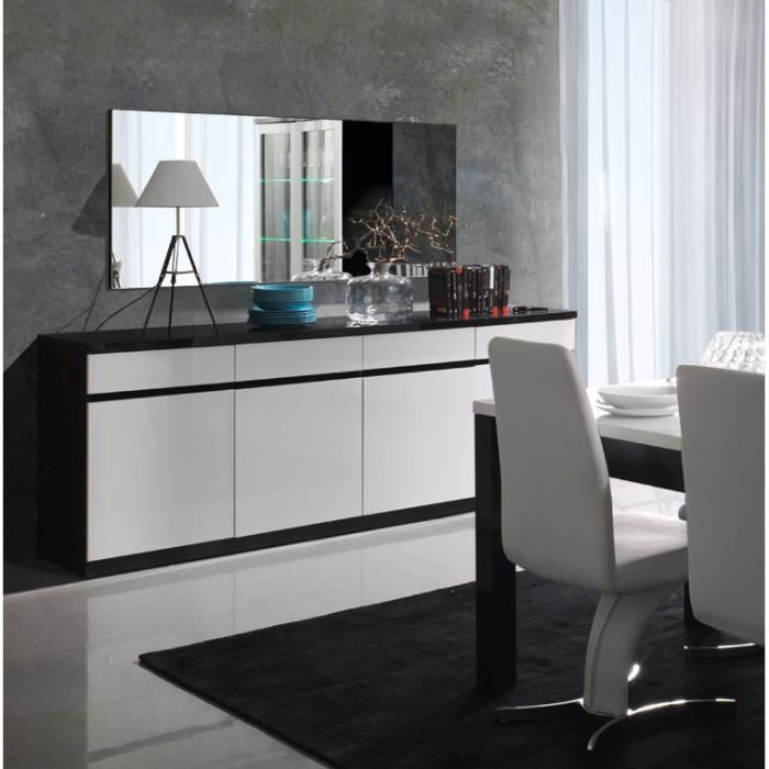 buffet bahut enfilade 4 portes et 4 tiroirs fabio miroir noir et blanc laqu high gloss. Black Bedroom Furniture Sets. Home Design Ideas