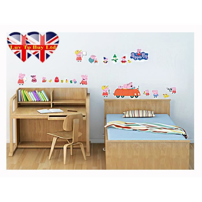 peppa pig famille sticker mural de voiture achat vente stickers cdiscount. Black Bedroom Furniture Sets. Home Design Ideas