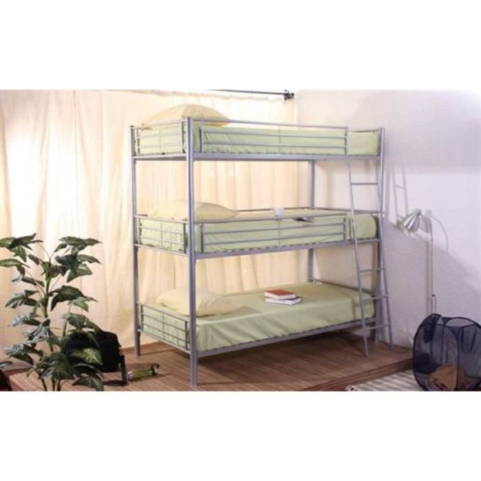 Lit superpos 3 places achat vente lits superpos s cdiscount - Lit superpose 2 places ...
