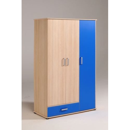 armoire enfant 3 portes spring bi color bleu achat. Black Bedroom Furniture Sets. Home Design Ideas