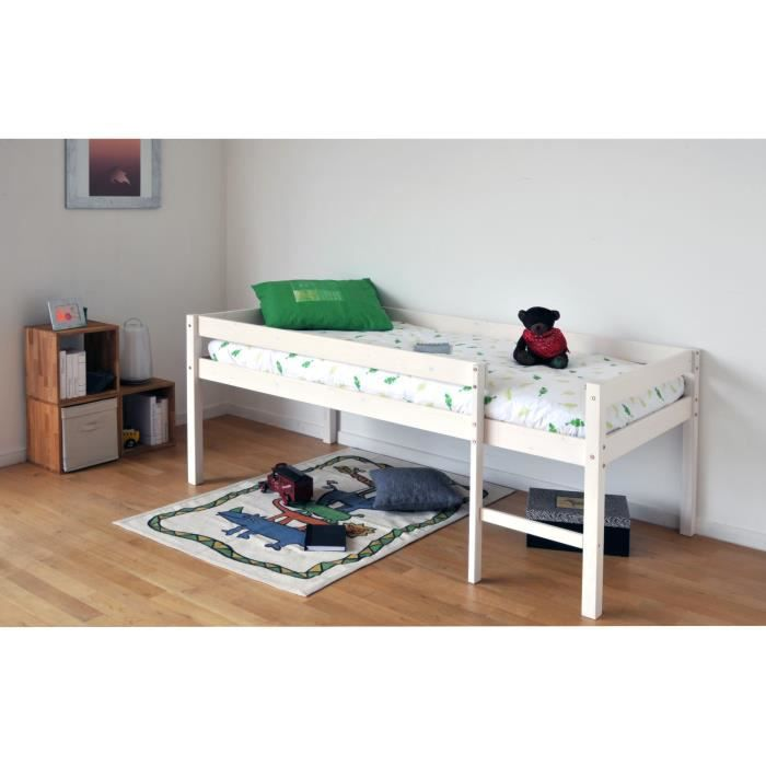 miki lit en hauteur enfant 90x190 finition blanchi achat vente lit complet miki lit en. Black Bedroom Furniture Sets. Home Design Ideas