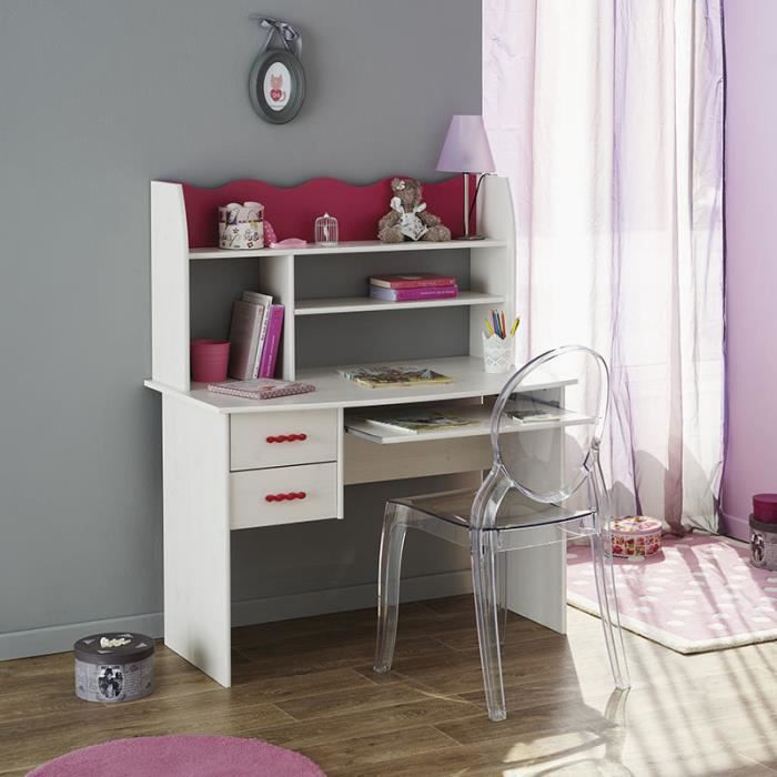 bureau fille avec rangement blanc et rose lilou achat. Black Bedroom Furniture Sets. Home Design Ideas