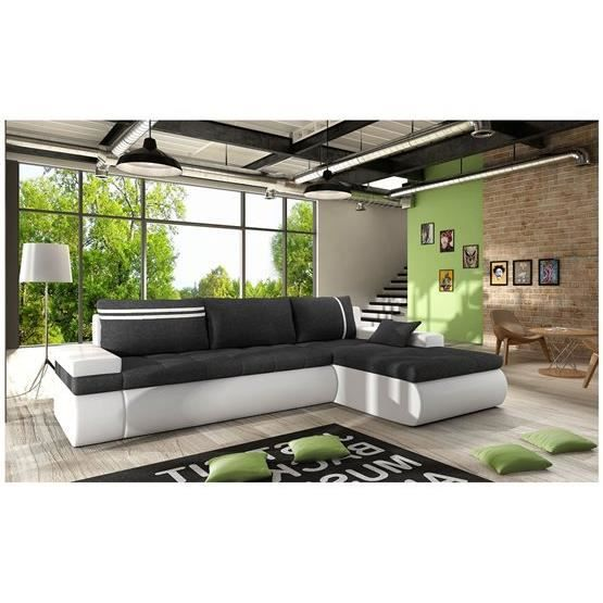 canap d 39 angle convertible dewa noir et blanc angle droit achat vente canap sofa divan. Black Bedroom Furniture Sets. Home Design Ideas