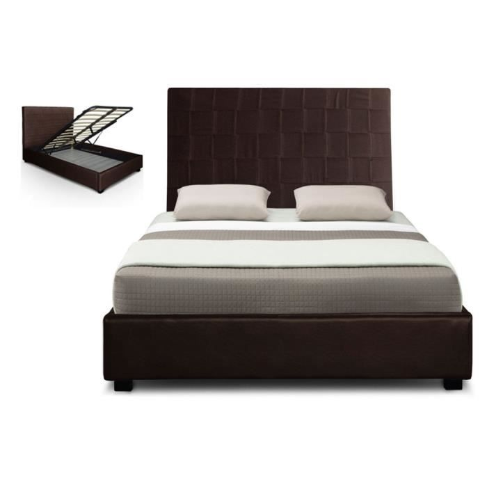 lit coffre pu 140 cm marron hypnos sommier achat vente. Black Bedroom Furniture Sets. Home Design Ideas
