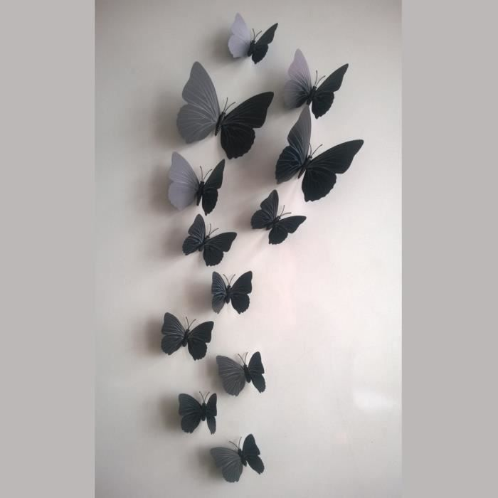 3d stickers muraux noir 12pcs papillon pvc art decal - Stickers muraux noir et blanc ...