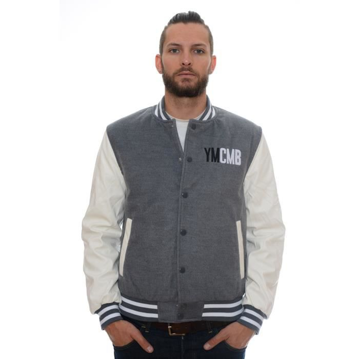blouson teddy homme ymcmb ve2220 gris et blanc achat vente blouson blouson teddy homme. Black Bedroom Furniture Sets. Home Design Ideas