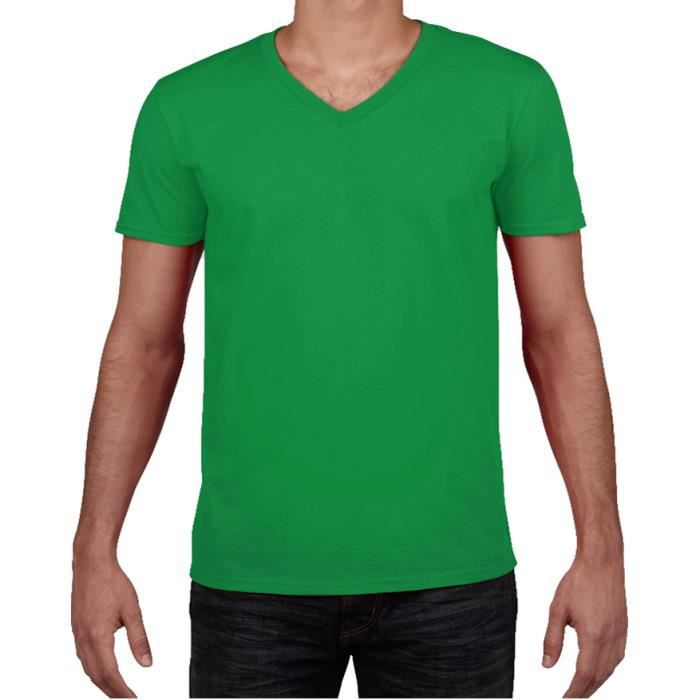 t shirt uni homme manches courtes stretch col v vert flashy vert vert achat vente t shirt. Black Bedroom Furniture Sets. Home Design Ideas