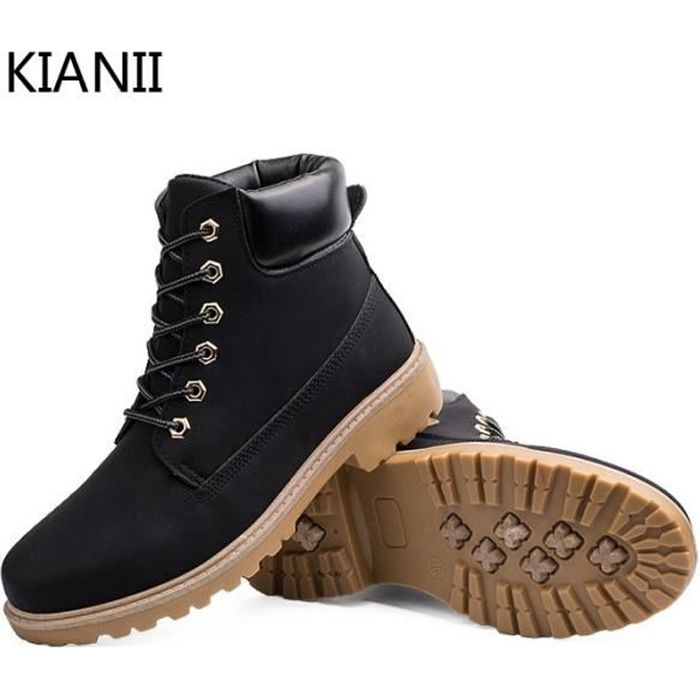 kianii botte homme chaussures en cuir noir noir achat vente botte cdiscount. Black Bedroom Furniture Sets. Home Design Ideas