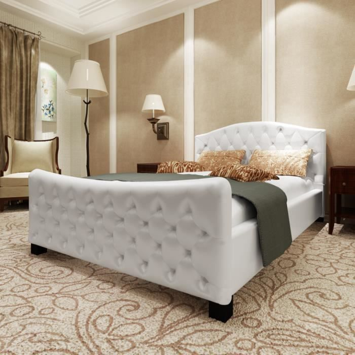 lit capitonne blanc achat vente lit capitonne blanc. Black Bedroom Furniture Sets. Home Design Ideas