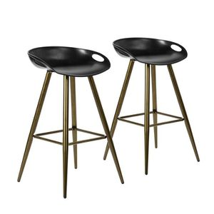 TABOURET DE BAR Furnish1 Lot De 2 Tabourets De Bar Noir Avec Pieds