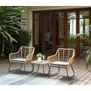 Salon bas de jardin Salon de jardin en résine imitation rotin 2 person