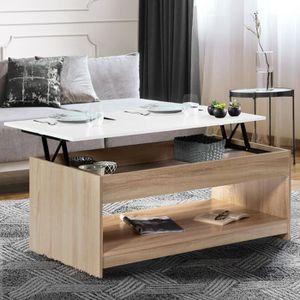TABLE BASSE Table basse plateau relevable SOA bois blanc et im