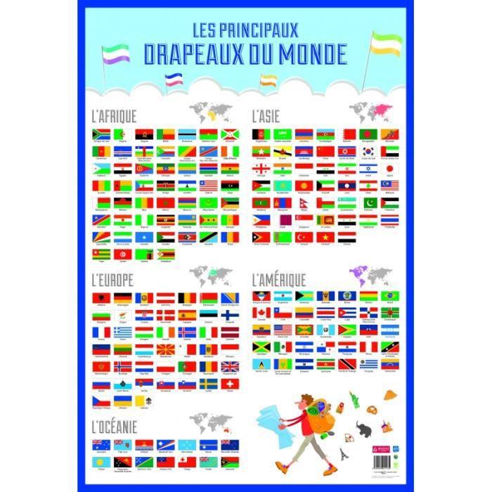 Poster drapeaux du monde effaçable à sec - L 76 x l 52 cm 76 cm