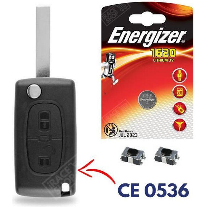 Coque Clé Plip Télécommande pour PEUGEOT 107 207 308 307 407 807 3008 + Pile CR1620 ENERGIZER