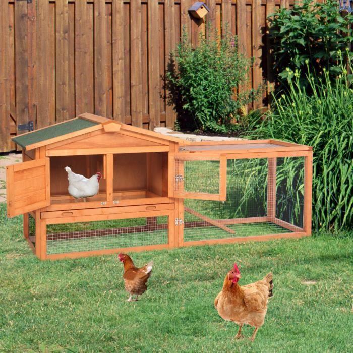Cage Clapier lapin Extérieur en bois de pin haute qualité pour lapins 156 x 52 x 68 cm Villa Lapin