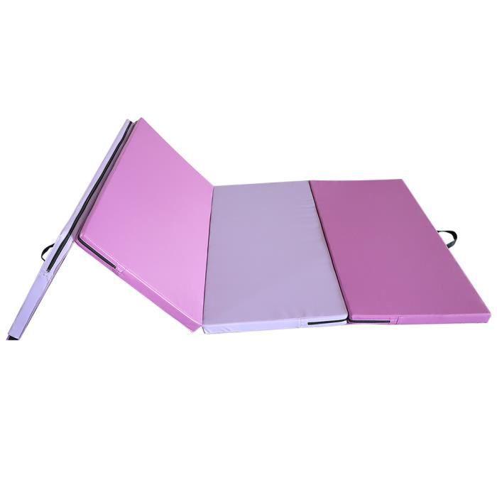 YIDS Tapis de Gymnastique Pliable 240 x 120 x 5 cm Violet Matelas de Fitness Portable Natte de Gym pour Fitness, Yoga, Sport et Exer