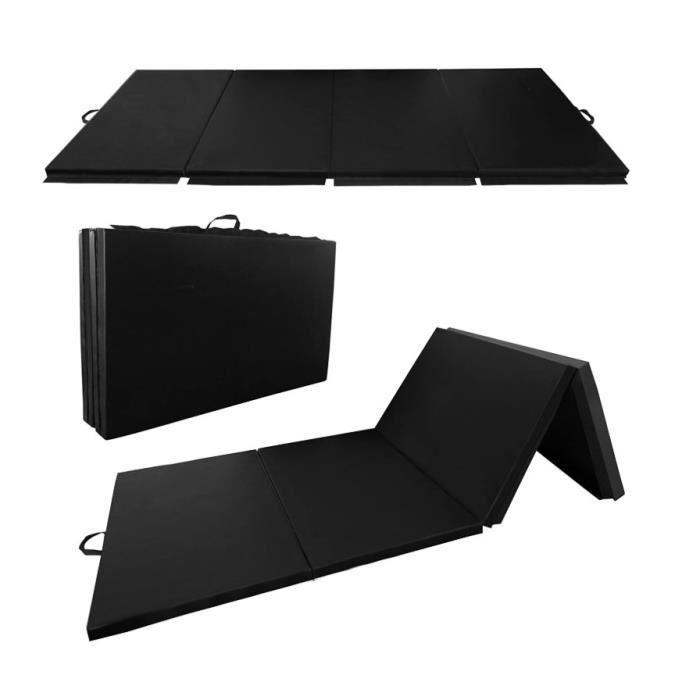 WISS Tapis de Gymnastique Pliable Noir 240x120x5cm Matelas Portable pour Fitness, Yoga, Sport et Exercice