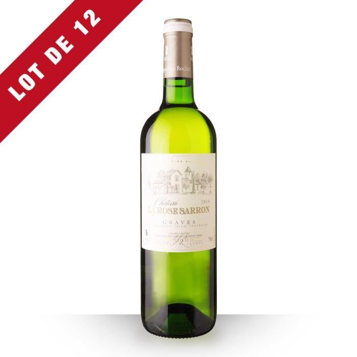 Lot de 12 - Château La Rose Sarron 2018 AOC Graves - 12x75cl - Vin Blanc