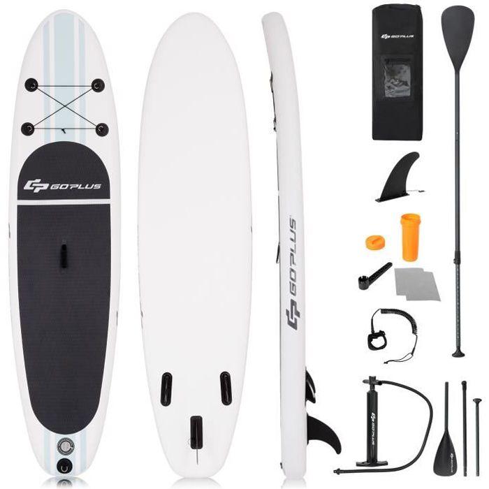 Stand Up Paddle Gonflable 305x76x15cm avec Accessoires Pagaie,Pompe Haute Pression Kit de Réparation, Leash, Aileron Amovible Sac de