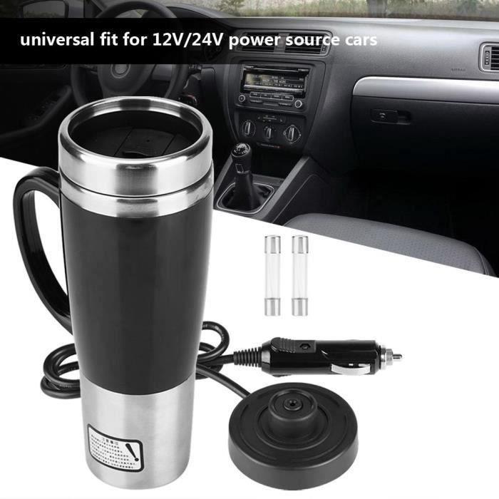 Bouilloire de voiture, Bouteille isotherme chauffante électrique en acier inoxydable voyage chauffage tasse café thé noire 12v