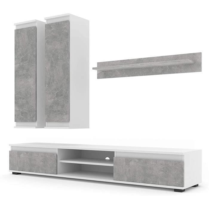 LUSIA 175 Ensemble de meubles pour salon Blanc/béton