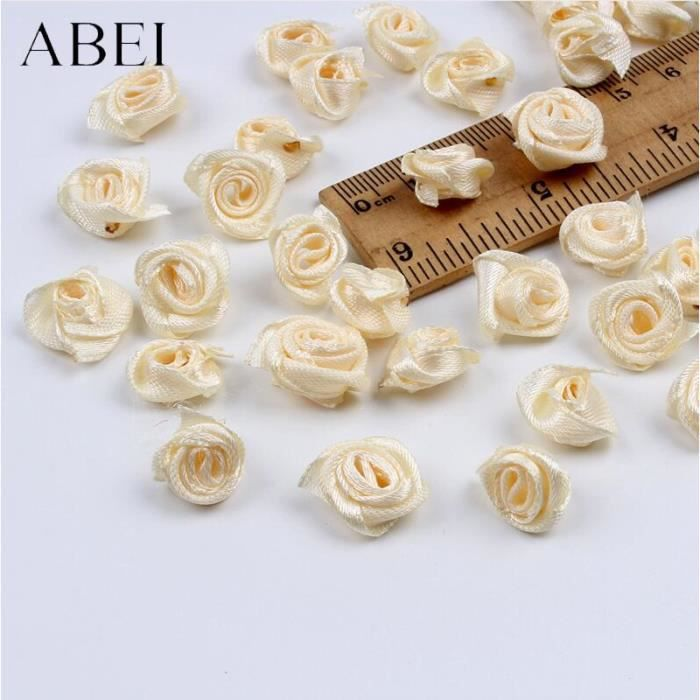 Mini fleurs roses mélangées 15mm 300 pièces, Ruban en satin fait à la main, tête de rose, accessoires décoratifs pour - Beige