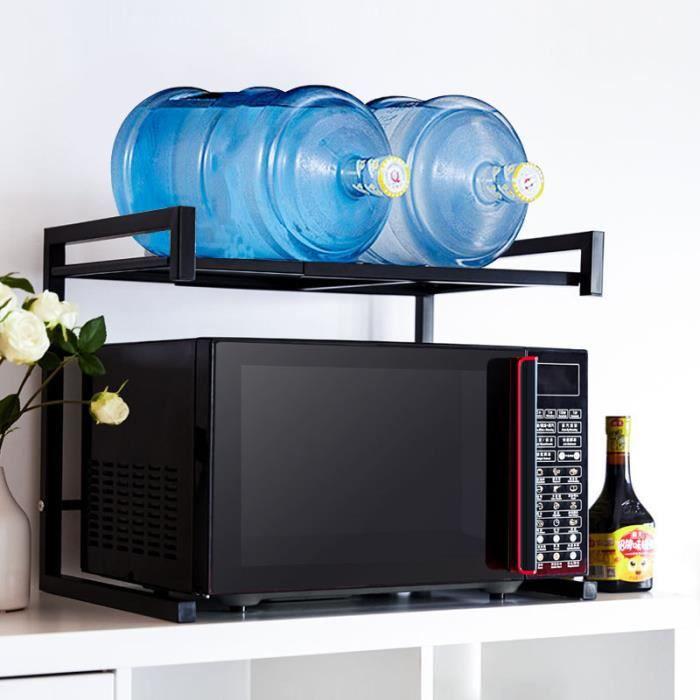 Support extensible en Métal four à micro-ondes de fourniture de vaisselle Vaisselle avec 3 Crochets de Rangement Noir 40-60cm x 36cm