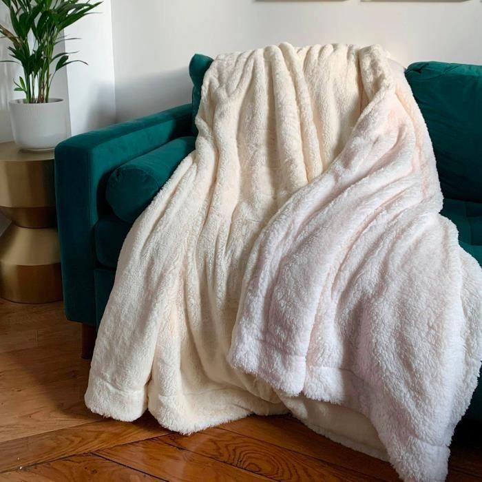 PLAID COUVERTURE COCOON XL 220 x 240 cm 610 g/m² - Couleur Naturel