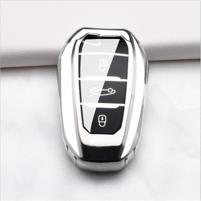 Coque clé,Coque de Protection pour clé de voiture Pour Peugeot 407 508 2008 301 5008 3008 4008, 3 boutons, Protection - Type Argent