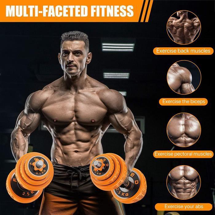 BESPORTBLE kit haltères 30 kg musculation Sport haltère reglable avec barres