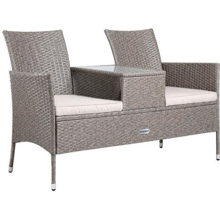 Banc de jardin polyrotin 2 places table plateau coussins salon de jardin meubles extérieurs
