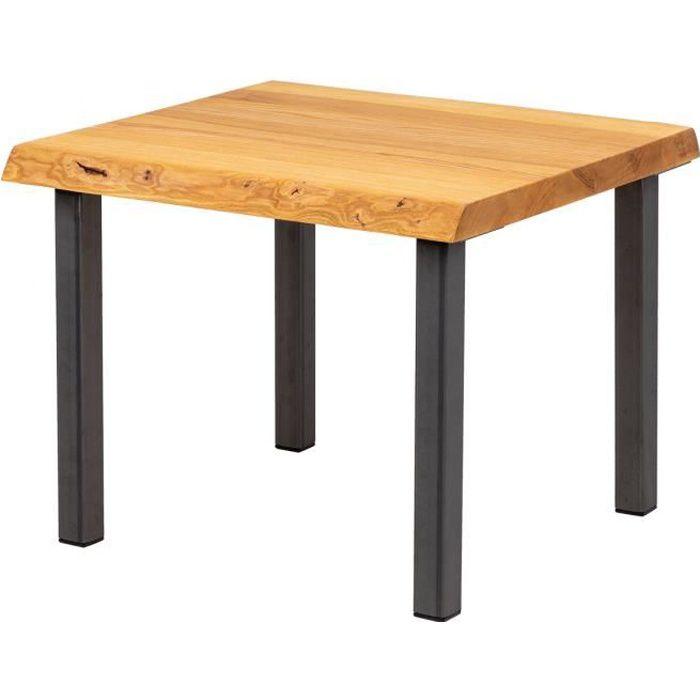 LAMO MANUFAKTUR Table basse en bois - industriel - salon - 60x60x47cm - frêne rustique - pieds métal acier brut - modèle classic