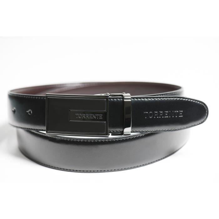 Torrente - Ceinture Reversible Noir/Marron - Cuir - Taille Ajustable - Boucle détachable - Ceinture homme Couture 14