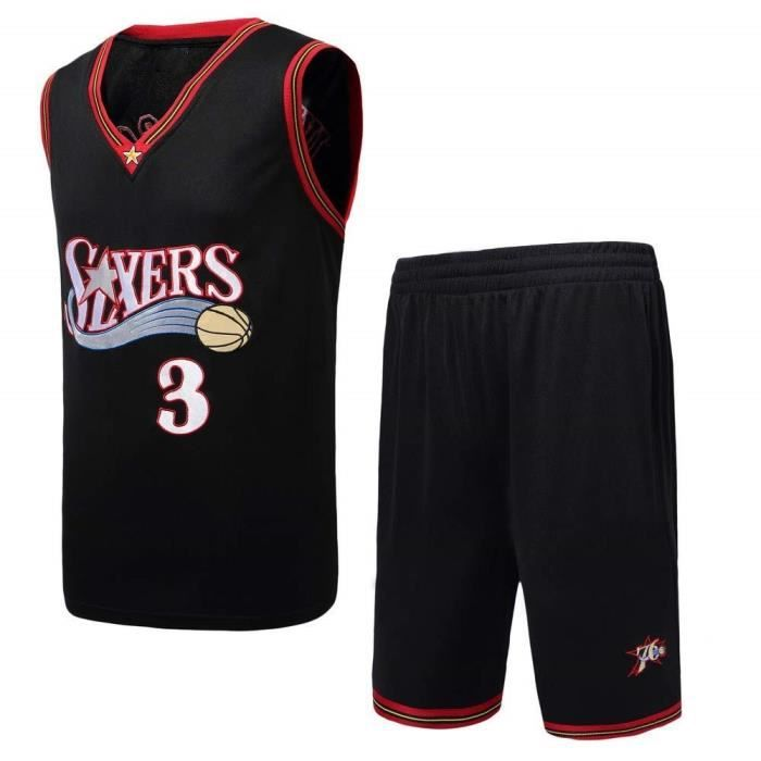NBA Philadelphia 76ers Star Allen Iverson Maillot et Shorts de basketball Homme - Noir