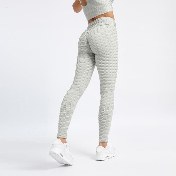 La taille haute pantalon de yoga de la femme Tummy contrôle Minceur Booty Leggings Lift Collants gris