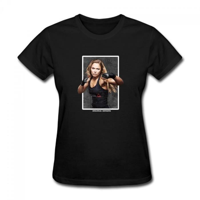 Ronda Rousey Ufc 190 Rowdy Femme Col rond Coton Manche courte T-shirt