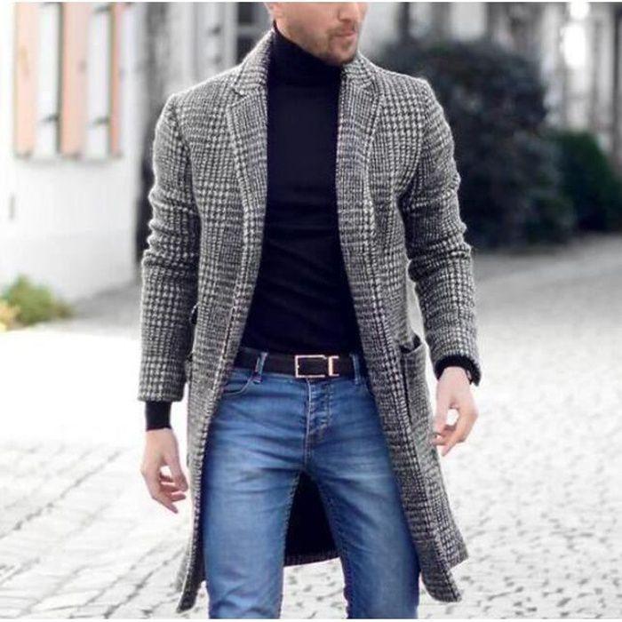 M manteau Manteau à carreaux pour hommes