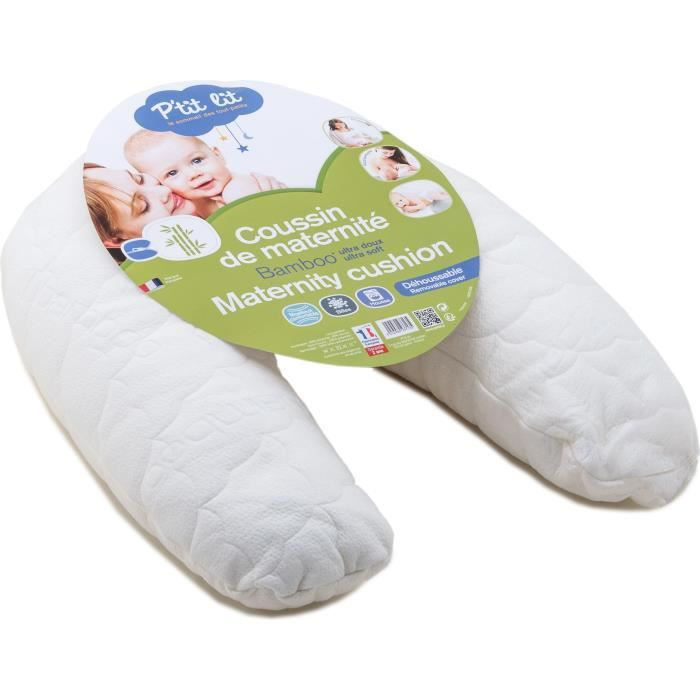 P'TIT LIT Coussin de maternité Bambou - Matelassé - Blanc