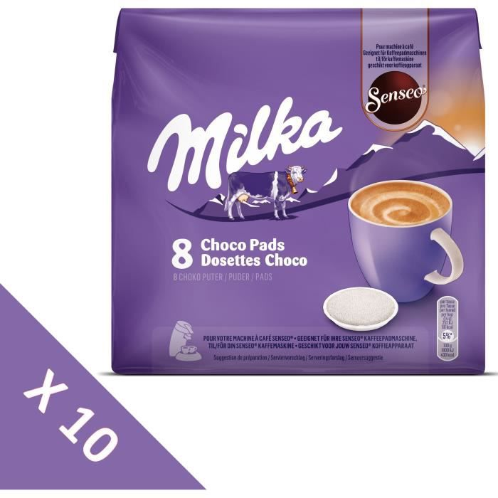 SENSEO Lot de 10 packs de 8 dosettes au chocolat Milka compatibles machine Senseo® - 1120 g