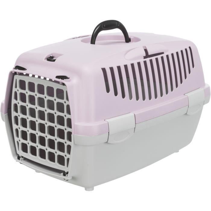 TRIXIE Box de transport Capri 1 - XS - 32 x 31 x 48 cm - Gris clair et mauve - Pour chien