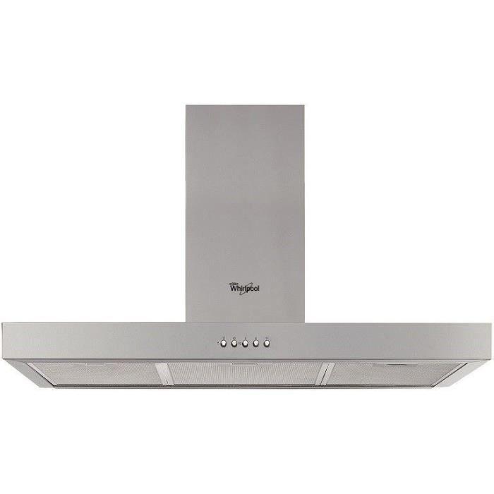 WHIRLPOOL - WHBS94FLMX - Hotte box - L 90 cm - Classe B - 603 m3 air / h max - 69 dB max - 3 vitesses