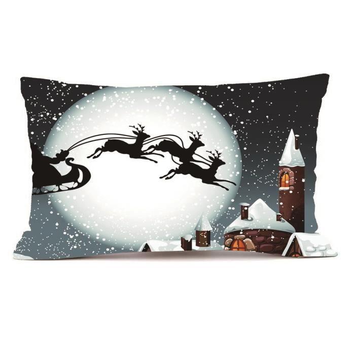 HOUSSE DE COUSSIN Noël rectangle Coussin housse soie oreiller étui-Y
