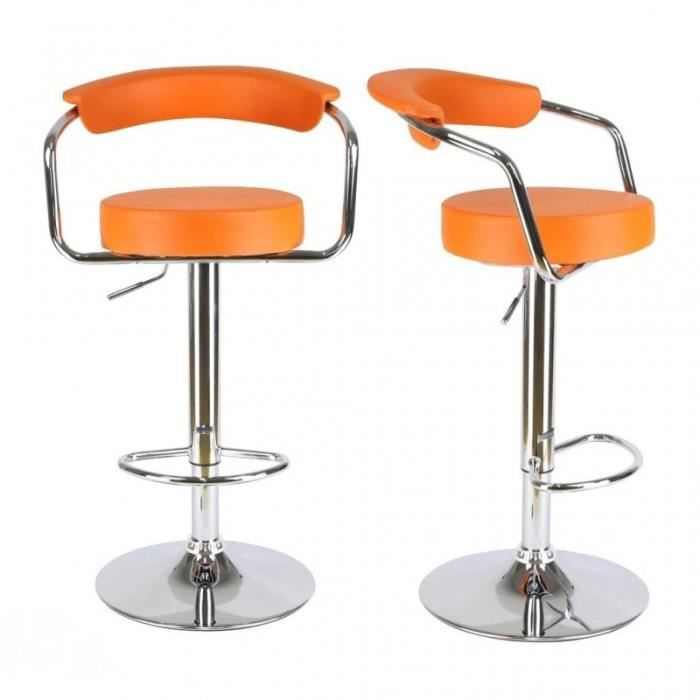 lot de 2 tabourets de bar en cuir pu orange 1209121. Black Bedroom Furniture Sets. Home Design Ideas