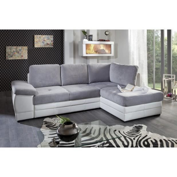 canap microfibre gris clair blanc angle droit achat vente canap sofa divan cdiscount. Black Bedroom Furniture Sets. Home Design Ideas
