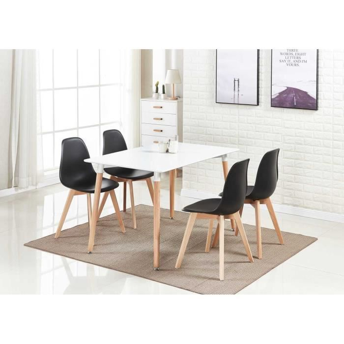 Ensemble Table à Manger Blanche + 4 Chaises Noires - Design ...