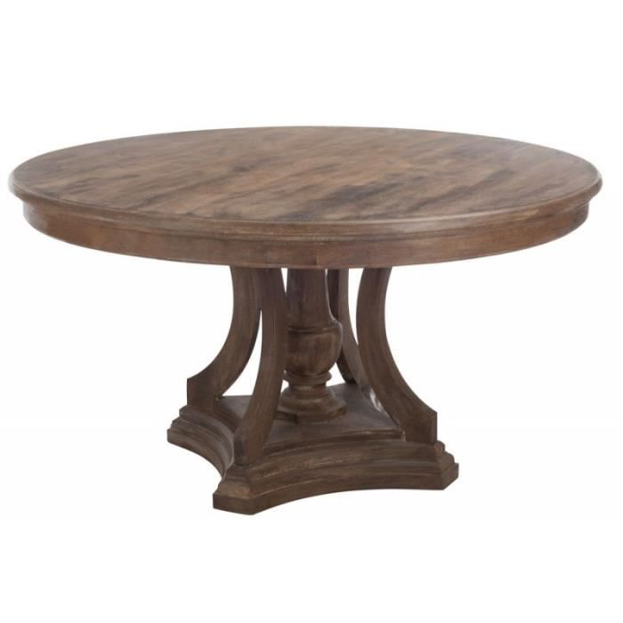 Table a manger ronde bois marron 150x80cm marron achat - Table ronde a manger ...