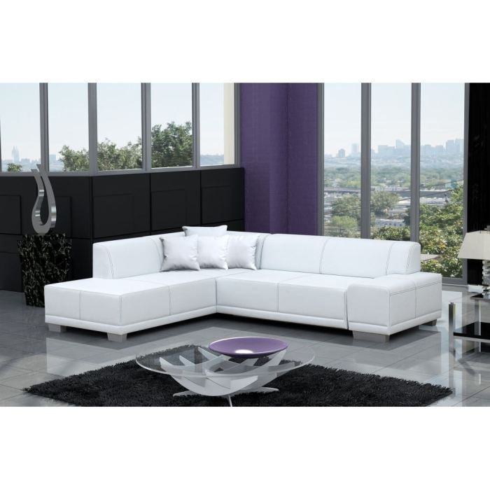 Canap d 39 angle moderne william blanc angle g achat vente canap sofa divan bois for Photo canape moderne