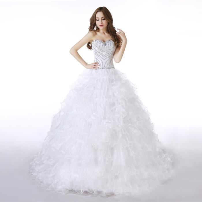 Robe de mariée-mariage longue traîne bustier